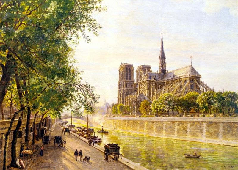 Gerard Marie Francois Firmin L lle De La Cite And The Cathedral Of Notre Dame. French artists