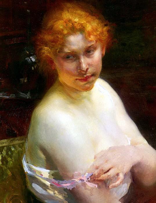 Besnard Paul Albert Portrait Dune Jeune Femme. French artists