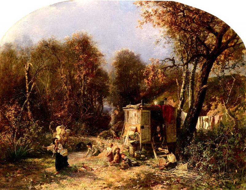 Castan Pierre Jean Edmond La Famille Du Fabricant De Paniers. French artists