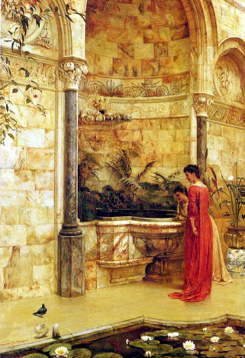 Taylor Edward R Elegant Ladies By A Fountain. French artists