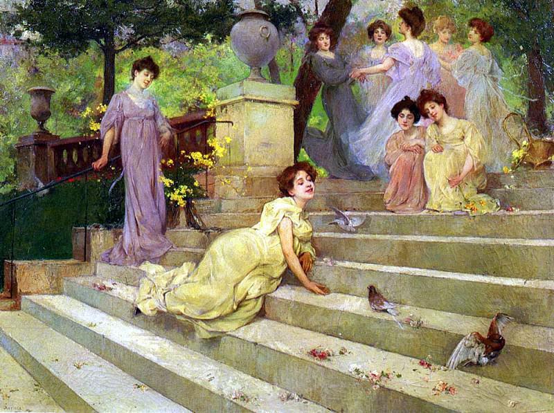 Artigue Albert Emile Girls On A Terrace. French artists