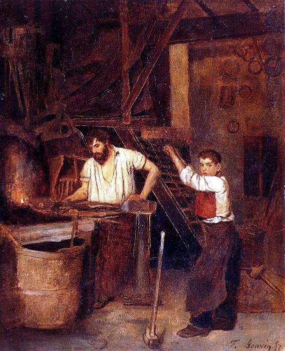Bonvin Francois Saint The Blacksmiths Shop. French artists