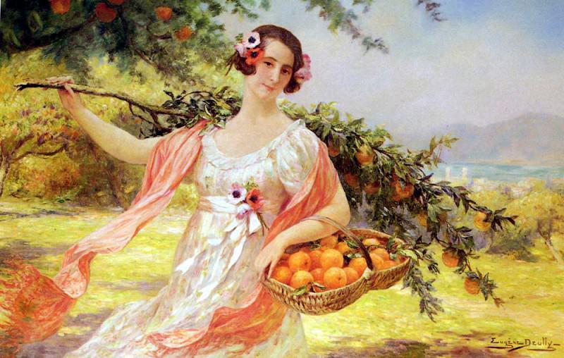 Deully Eugene Auguste Francois Femme Aux Oranges. French artists