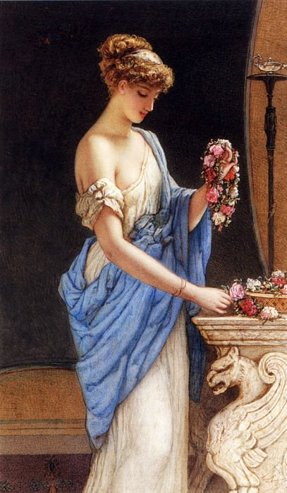 Bouvier Auguste Jules A Girl In Classical Dress Arranging A Garland Of Flowers. French artists