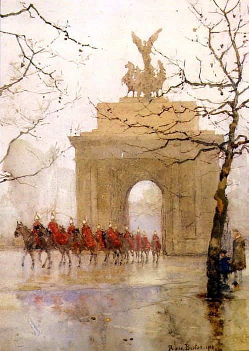 Barton Rose Maynard Hyde Park Corner With Household Cavalry. French artists