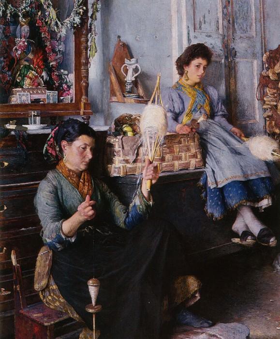 Venetian Women Spinning Wool. French artists