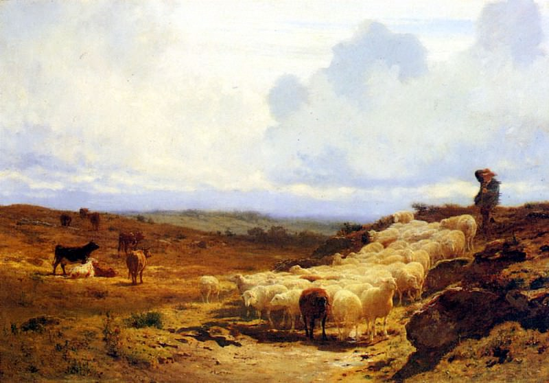 Bonheur Auguste A Shepherd And His Flock. French artists