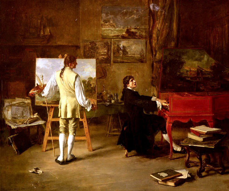 Gros Lucien Alphonse Pergolese Dans L Atelier De Joseph Vernet. French artists