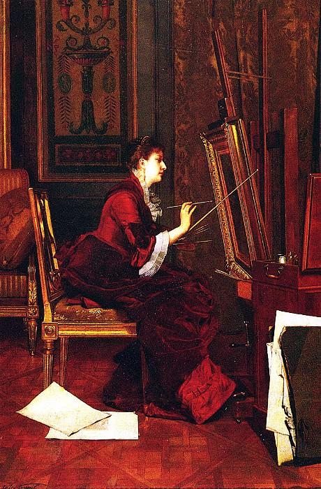 Гупиль, Жюль Адольф (1839-1883) - Художница в мастерской. Французские художники