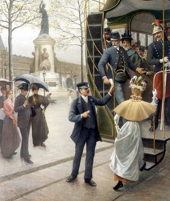 Houry Charles Borromee Antoine Catching the Trolley. French artists