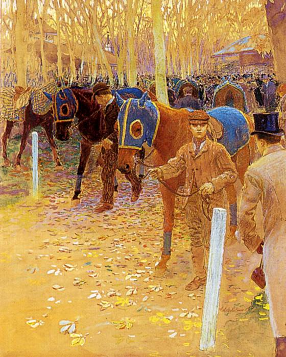 Binet Adolphe Gustave The Saddling Paddock. French artists