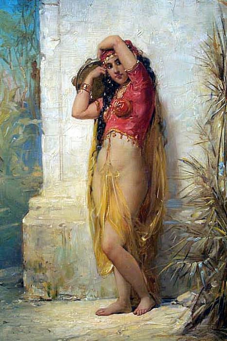 Девушка из гарема с тамбурином. Французские художники