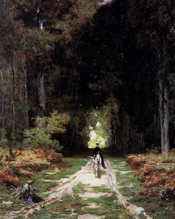 Laurens Jules Joseph Augustin Equestrienne on a Wooded Lane. French artists