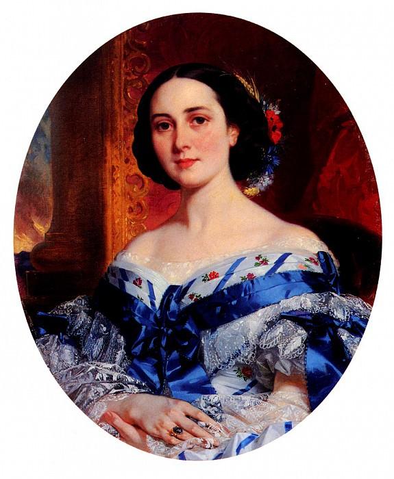 Deveria Eugene Francois Marie Joseph Portrait De Marie - Lucie De Selle De Beauchamp. French artists
