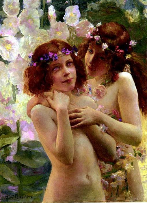 Bussiere Gaston Deux Enfants Aux Couronnes De Fleurs. French artists