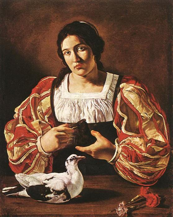 CECCO DEL CARAVAGGIO Woman With A Dove. French artists