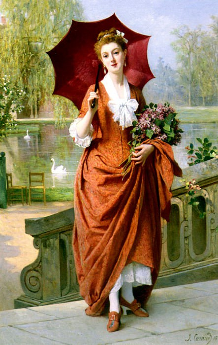 Caraud Joseph Caraud The Red Parasol. French artists
