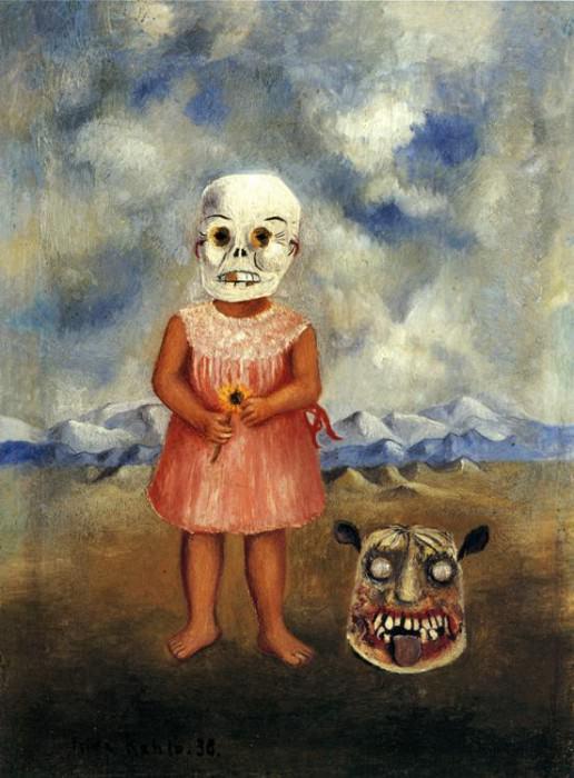 Girl with Death Mask. Frida Kahlo