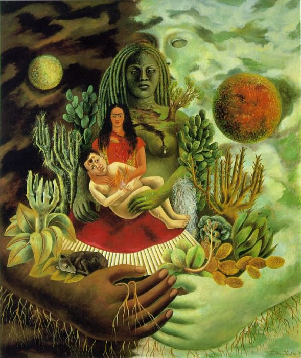 The Love Embrace of the Universe, the Earth (Mexico), Me, Diego and Xolotl (2). Frida Kahlo