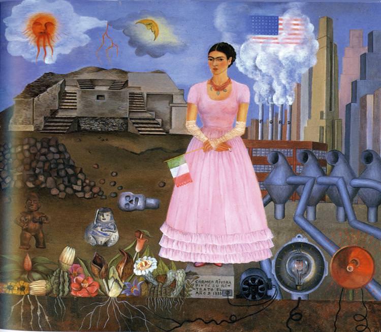 Автопортрет на границе между Мексикой и США. Фрида Кало