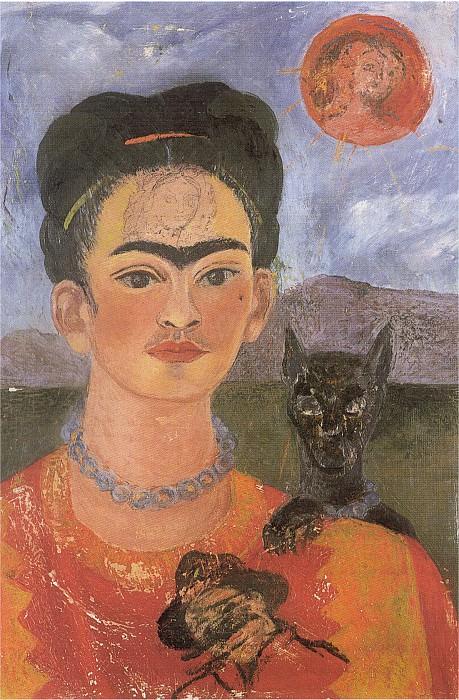 Autoportrait avec le portrait de diego sur la poitrine et marie entre les sourcils. Frida Kahlo