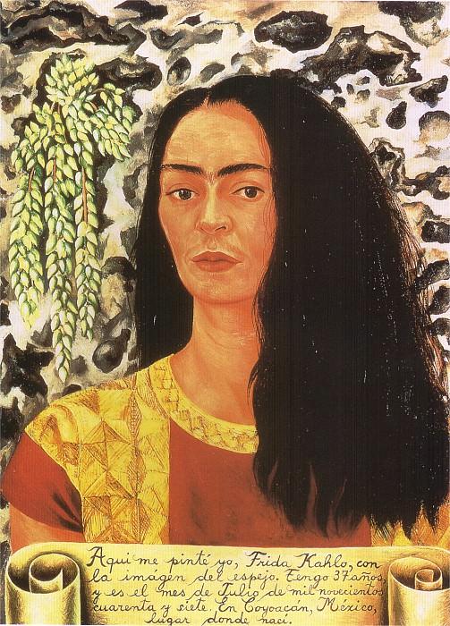 Автопортрет с распущенными волосами (2). Фрида Кало