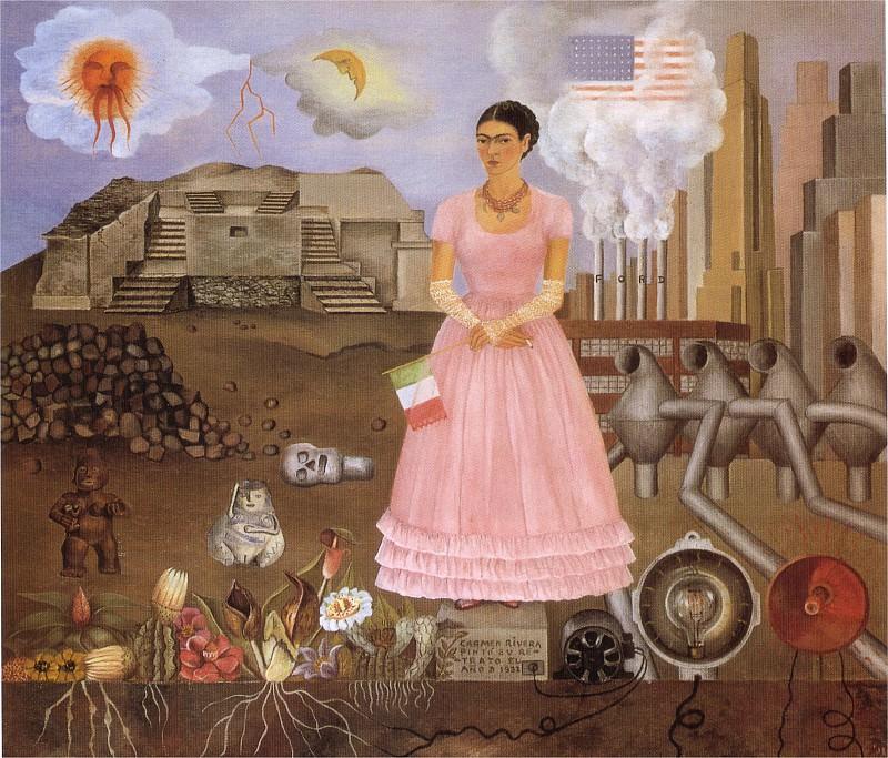 Autoportrait a la frontiere du Mexique et des Etats-unis. Frida Kahlo