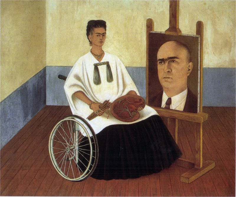 1951 Self-Portrait with the Portrait of Doctor Farill. Frida Kahlo
