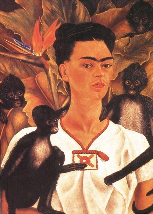 1945 autoportrait au singe 02. Фрида Кало