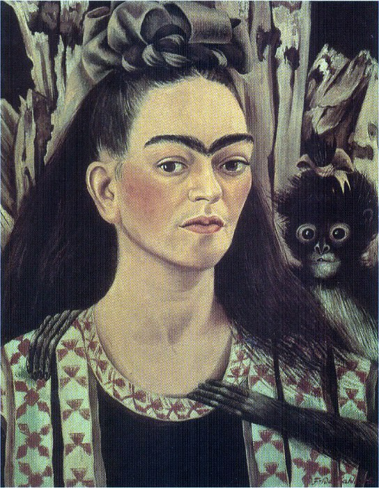 Автопортрет с маленькой обезьянкой. Фрида Кало
