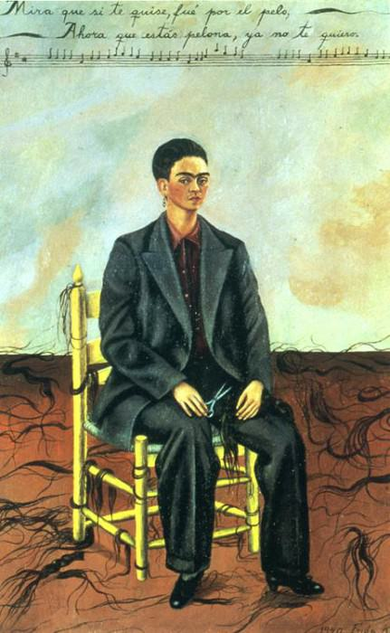 Self-Portrait with Cropped Hair. Frida Kahlo