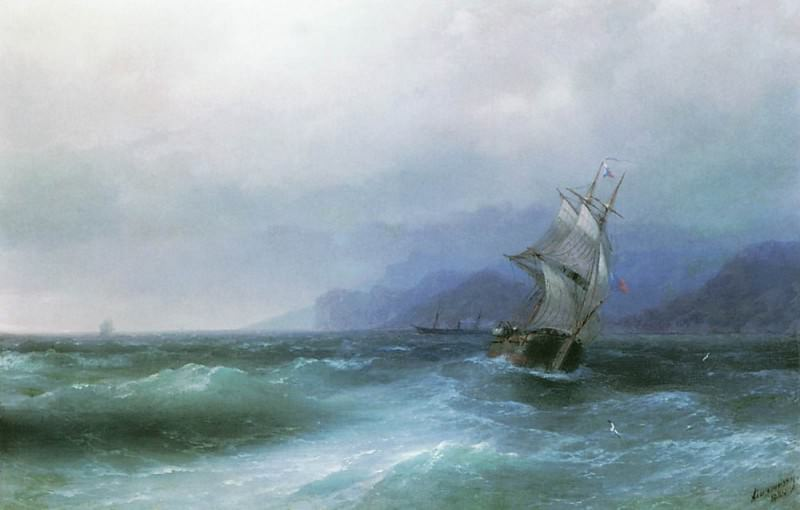 Sailing in the sea 1884 42x64. Ivan Konstantinovich Aivazovsky