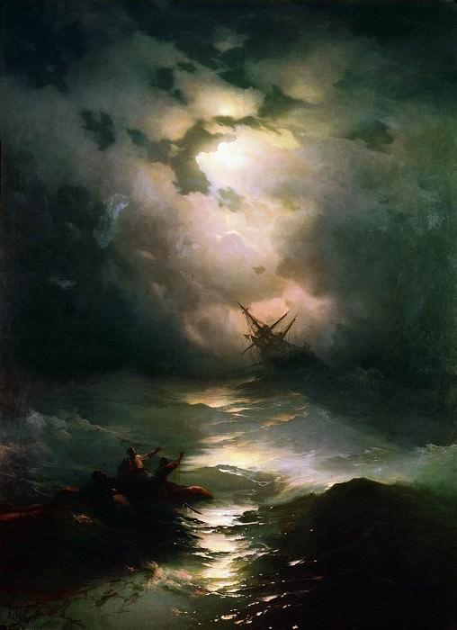 Storm in the North Sea in 1865 269h195. Ivan Konstantinovich Aivazovsky