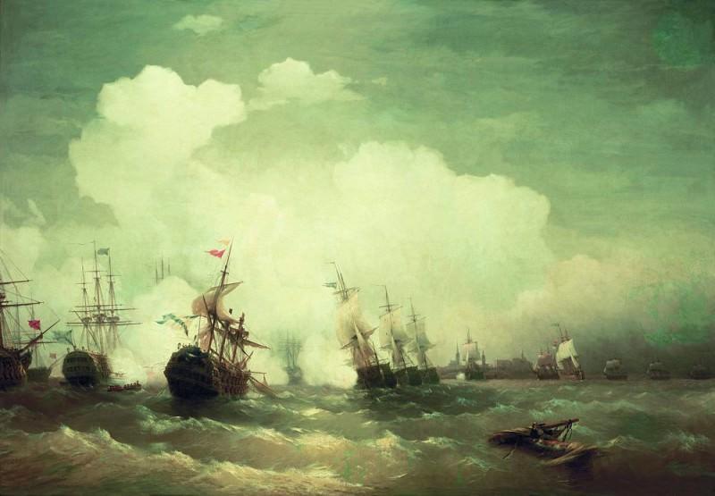 Sea battle at Revel, May 2, 1790 1846 222h335. Ivan Konstantinovich Aivazovsky