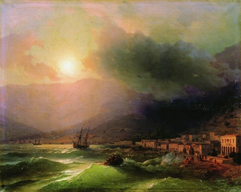 Seaside city. View of Yalta in 1866 61,5 h78. Ivan Konstantinovich Aivazovsky