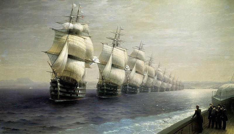 Смотр Черноморского флота в 1849 г. 1886 131х249. Иван Константинович Айвазовский