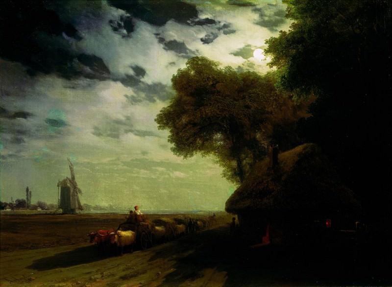 Ukrainian landscape with oxcart driver under the moon 1869 60h82. Ivan Konstantinovich Aivazovsky