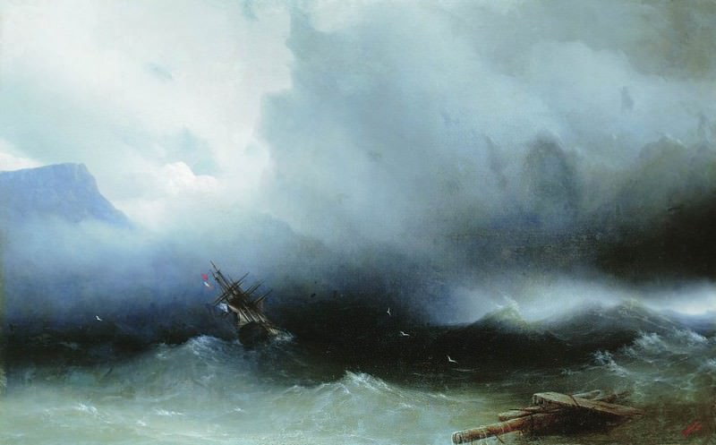 Hurricane at Sea 1850 120h190. Ivan Konstantinovich Aivazovsky