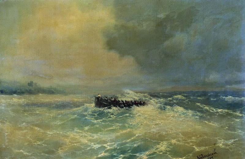 Перед Алупкой в Крыму. Лодка в море 1894 37х55. Иван Константинович Айвазовский