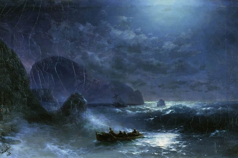 Storm on the sea at night in 1895 47,5 h75. Ivan Konstantinovich Aivazovsky