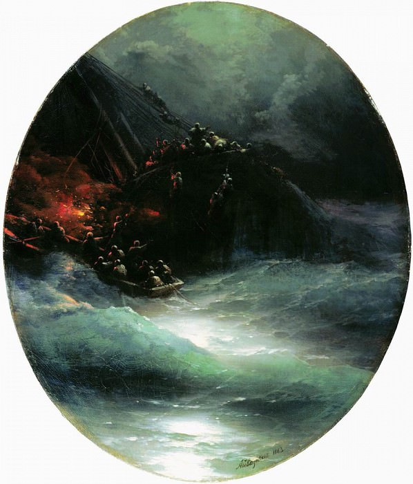 Death of a ship. The collapse of the merchant vessel on the high seas in 1883 83,5 h75, 5. Ivan Konstantinovich Aivazovsky