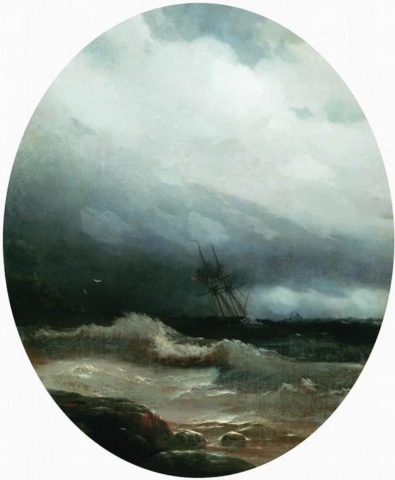 ship in a storm in 1891. Ivan Konstantinovich Aivazovsky