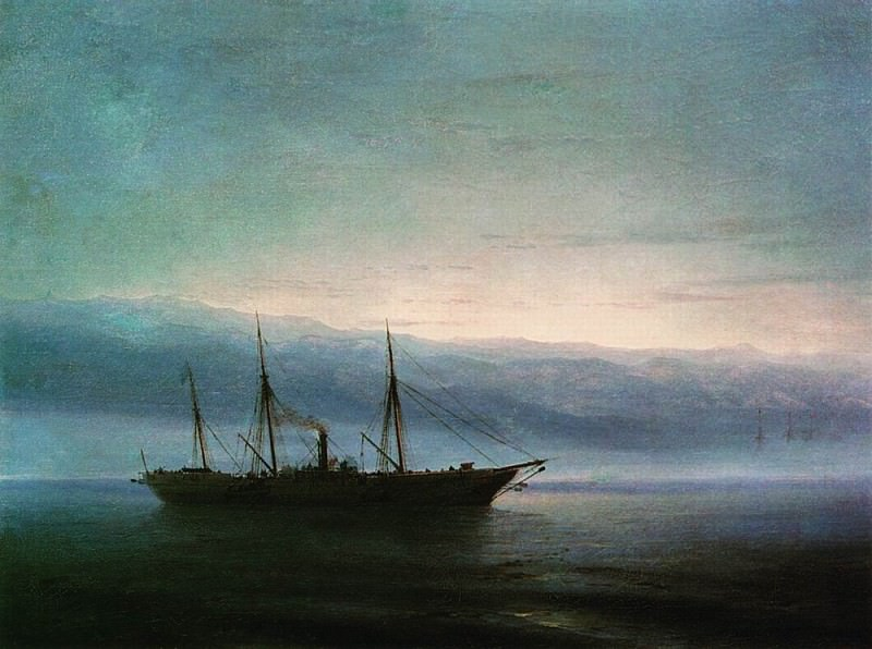 Before the battle. Ship Constantine 1872. Ivan Konstantinovich Aivazovsky