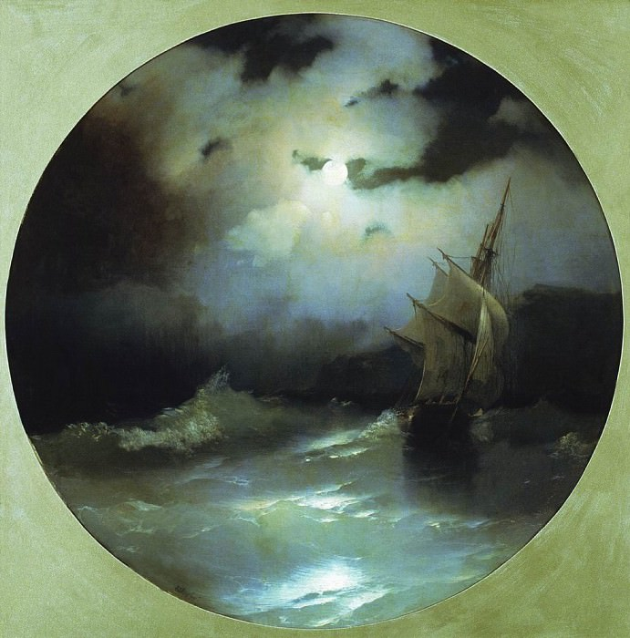 Sea on a moonlit night in 1858 54h54. Ivan Konstantinovich Aivazovsky