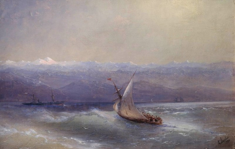 blue mountains in the background 1880. Ivan Konstantinovich Aivazovsky