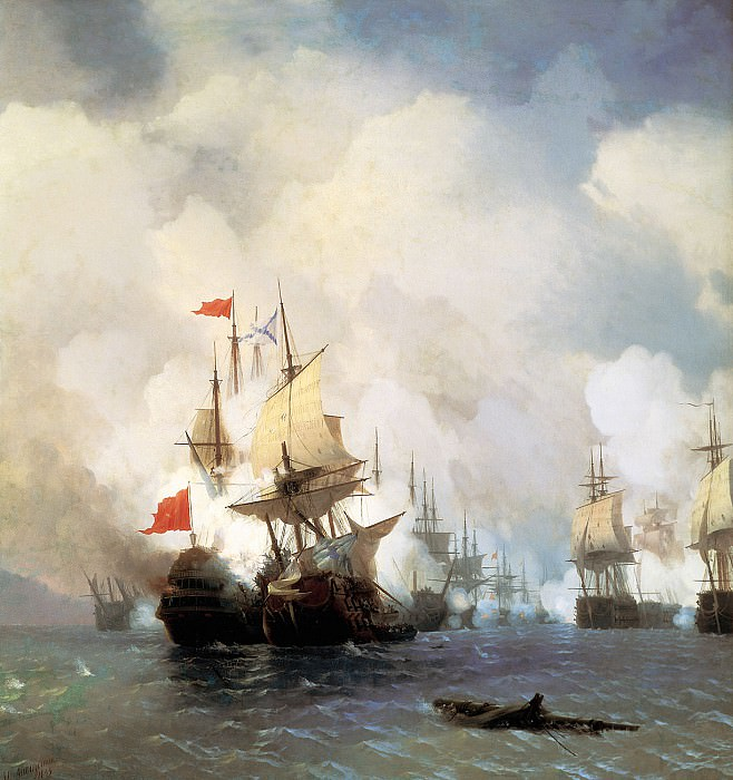 Battle in the Chios Channel June 24, 1770 1848 220h190. Ivan Konstantinovich Aivazovsky