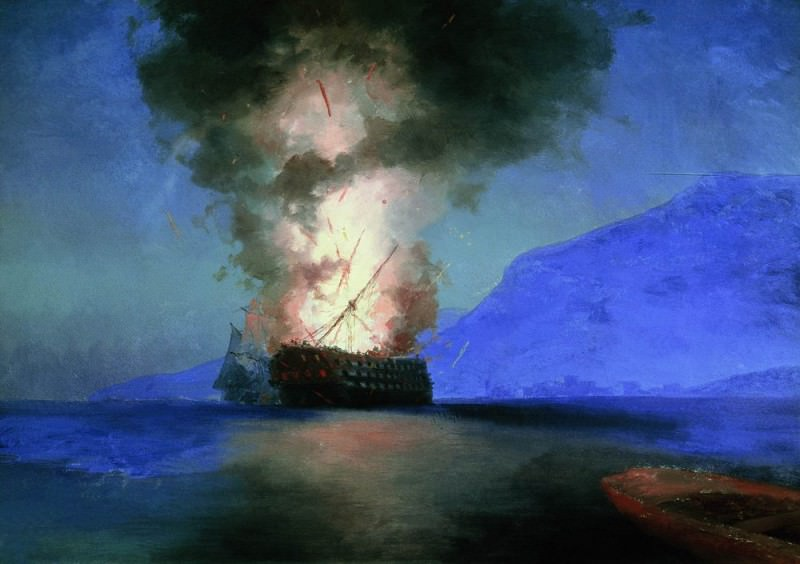 1900 ship explosion 67h96, 5 is the latest picture-unfinished.. Ivan Konstantinovich Aivazovsky