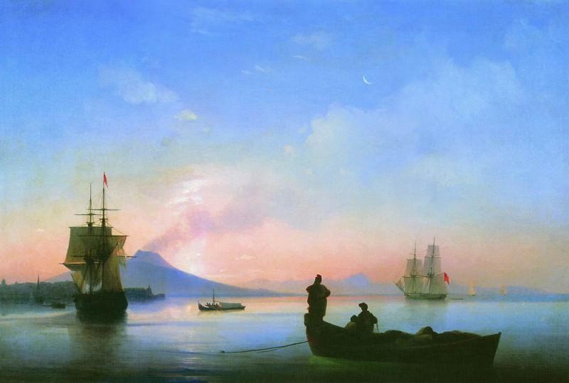 Bay of Naples in the morning 67h100 1843. Ivan Konstantinovich Aivazovsky