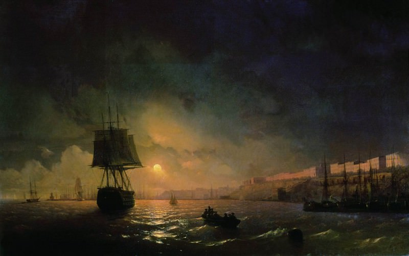 Type of Odessa by Moonlight 1846 122h190. Ivan Konstantinovich Aivazovsky