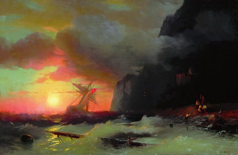 Shipwreck near Mount Athos 1856 97h148. Ivan Konstantinovich Aivazovsky